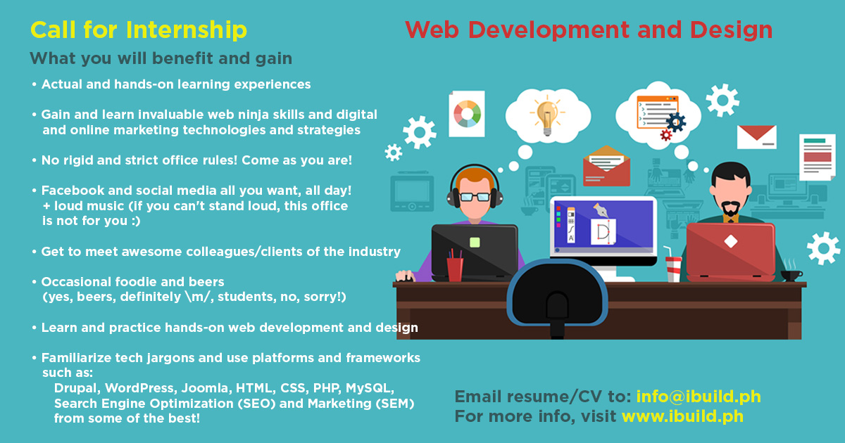 Student interns for web design, development and information technology and management students