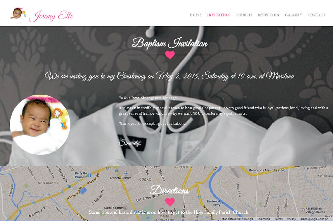 Jeremy Elle Baptism and Christening Online Invitation Web Design in Manila, Philippines
