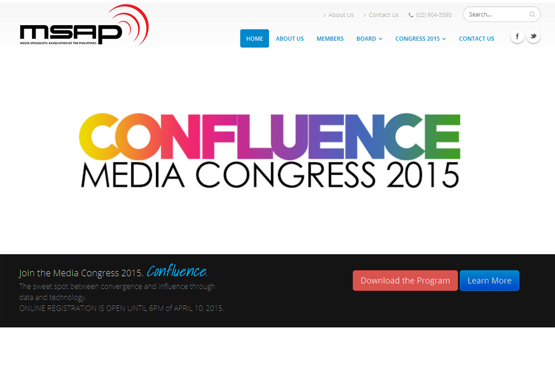 Drupal website development and design for the Media Specialists Association of the Philippines (MSAP) and Confluence Media Congress 2015