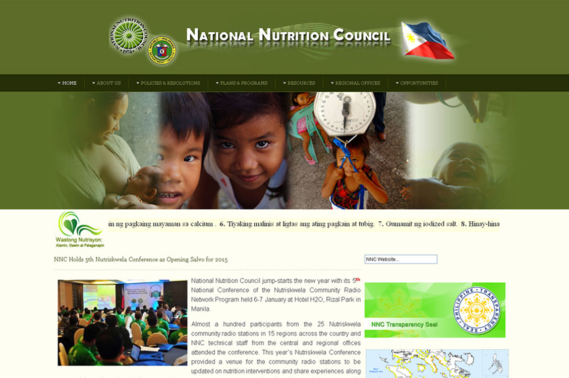 Joomla website development and design for the National Nutrition Council (NNC)